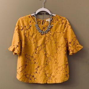 Monteau Mustard Lace Top